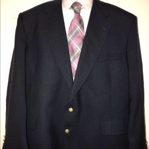 Stafford Wool Navy Blue Gold Buttons Blazer  50R